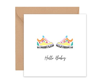 Baby card, New baby card, Baby vans shoes card, new arrival greeting card