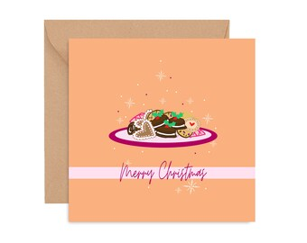 Christmas card, Cookie Platter Card, Cards of Colour Christmas card, Festive greetings, Christmas Greeting card