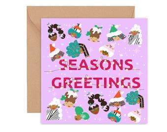 Christmas card, Seasons Greetings, Cards of Colour Christmas card, Festive greetings, Christmas Greeting card, Diverse Christmas Card