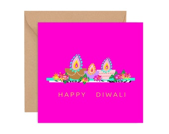 Hot Pink Floral Diyas,  Diwali Card, Diwali Greeting card, Diwali greetings