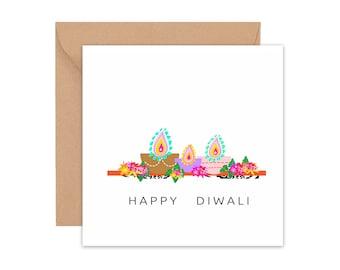Floral Diyas,  Diwali Card, Diwali Greeting card, Diwali greetings