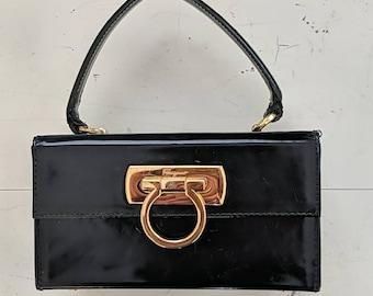 Vintage Ferragamo Gancini  Patent Leather Satchel