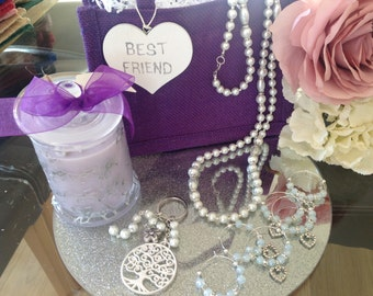 Mum gift bag Damson Plum and Patchouli natural soy Scented candle and crystal glass necklace for her personalised Christmas gift unique gift