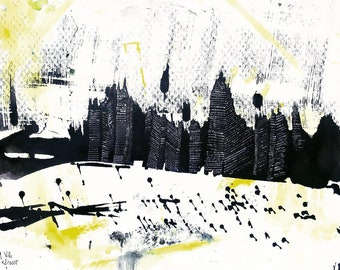 City [Original Drawing] [Art painting, made with watercolor, ink and acrylic]