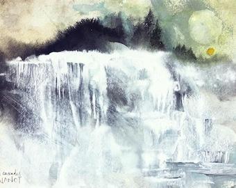 Waterfalls [Original Watercolor and Ink drawing, Painting, Nature]