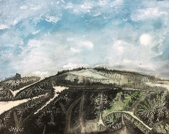 Landscape [Original Watercolor and Ink, Painting]