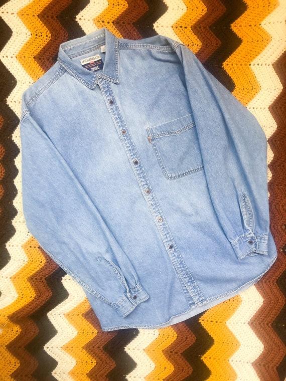 Vintage Orange Tab Levis Denim Shirt 60s 70s