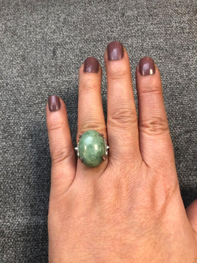 Natural Gray Jadeite Tiny Diamond Sterling Sliver Ring
