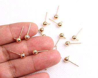 Gold plated brass earring post -Brass earring charms-ball shape earring connector-earring pendant-earring  findings jewelry supply BR0024