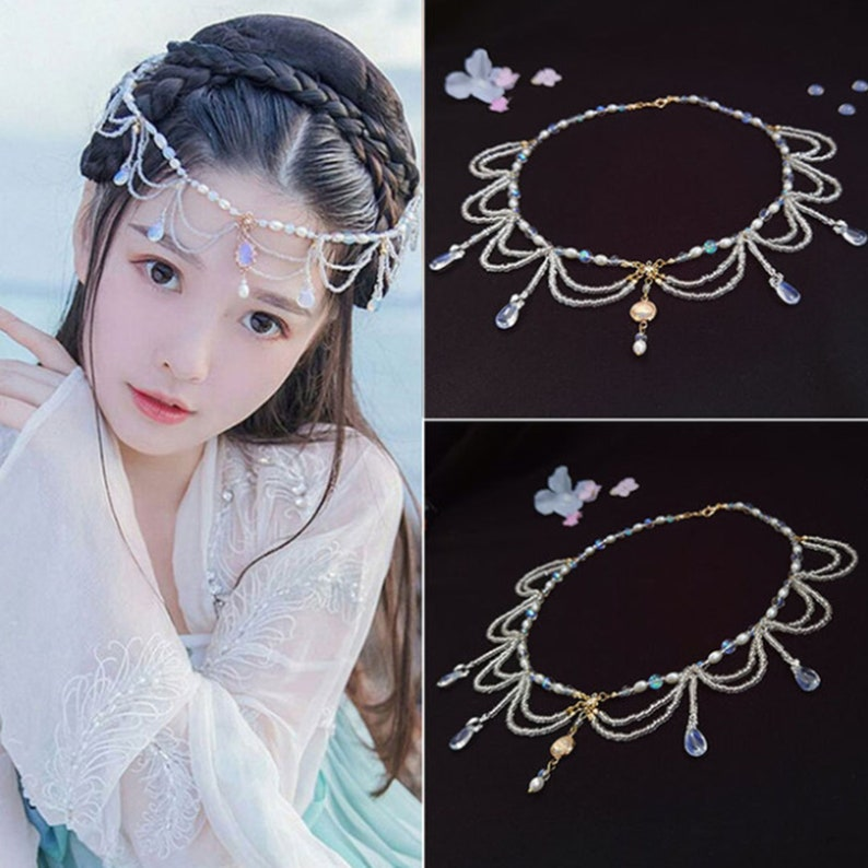 Costume Forehead Jewelry Tassel Forehead Jewelry Necklace Chinese Style Cosplay Accessories