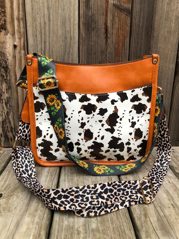 Faux Cowhide Cow Print Western Cowgirl Crossbody Messenger Bag Purse Handbag