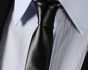 Soft Leather necktie Slim tie Vintage accessories Skinny leather tie Real leather Black Unisex Women Necktie Men tie Gift for him