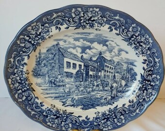 Ravensdale Pottery Staffordshire England Oval Serving Platter Village Scene
