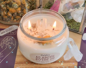 As Above So Below | Quartz Stone, Cedar and Orange Scented Spirit Invoking Intention Soy Candle | Witchcraft | Magick | Wicca | Ritual | Gem