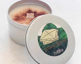 LEMBAS BREAD: LOTR The Hobbit inspired Cinnamon Bread Scented Hand Crafted Wood Wick Soy Candle   Geek   Gift   Fantasy