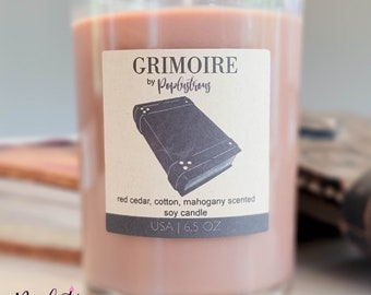 GRIMOIRE: RUSTIC LIBRARY | Library Book | Leather, Paper & Mahogany Scented Soy Candle | Geek | Reading | Books | Bookworm | Gift |