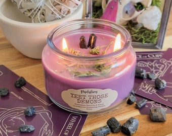 YEET THOSE DEMONS! | Black Tourmaline, Cinnamon and Vanilla Scented Cleansing Intention Soy Candle | Witchcraft | Magick | Wicca | Ritual |