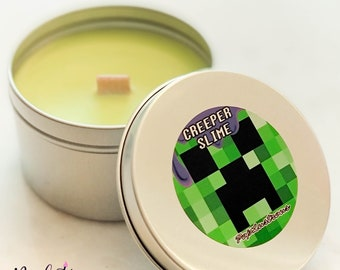 CREEPER SLIME! Minecraft inspired Fizzy Pop & Coconut Scented Hand Crafted Soy Candle | Gaming | Geek | Gift | CLEARANCE