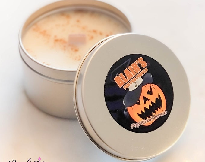 Featured listing image: BLAIR'S Pum-Pum-PUMPKIN: Soul Eater Inspired Pumpkin Pie Scented Hand Crafted Crackling Wood Wick Soy Candle | Halloween | Gift | Anime |
