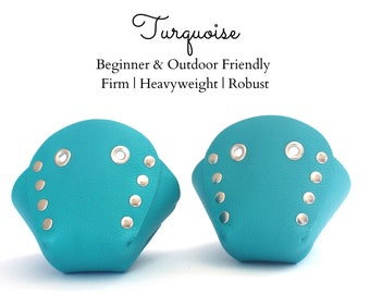 Turquoise Genuine Top Leather Roller Skate Toe Caps/Toe Guards, Free U.S. Shipping!