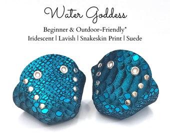 Water Goddess Genuine Suede (Snakeskin Print) Roller Skate Toe Caps/Toe Guards, Free U.S. Shipping!