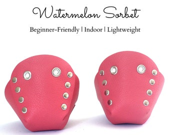 Watermelon Sorbet Genuine Top Leather Roller Skate Toe Caps/Toe Guards, Free U.S. Shipping!