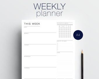 WEEKLY PLANNER template:  Minimalist weekly planner - One page - PDF - A4 printable - black and white