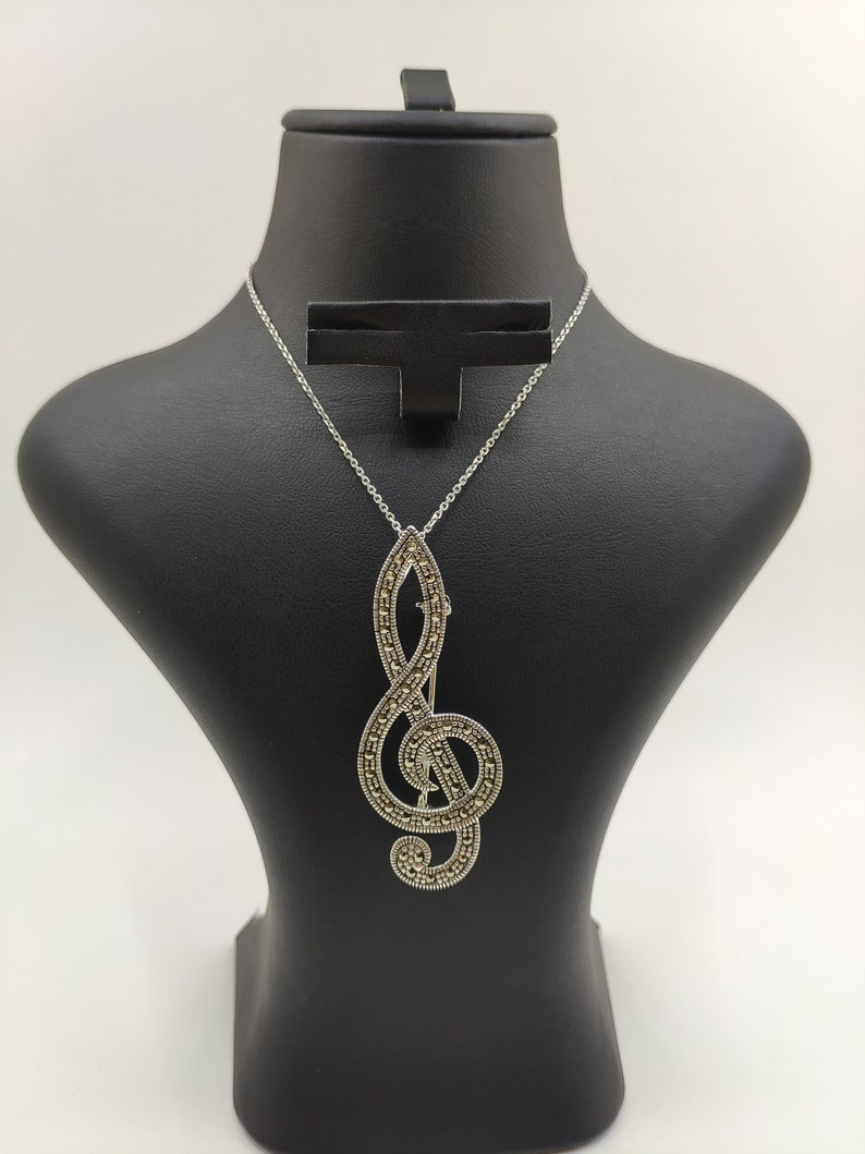 Silver Pendant 925 Sterling Silver| Gifts For Her | Treble Clef Brooch Special Oxide Coating Swiss Marcasite Necklace