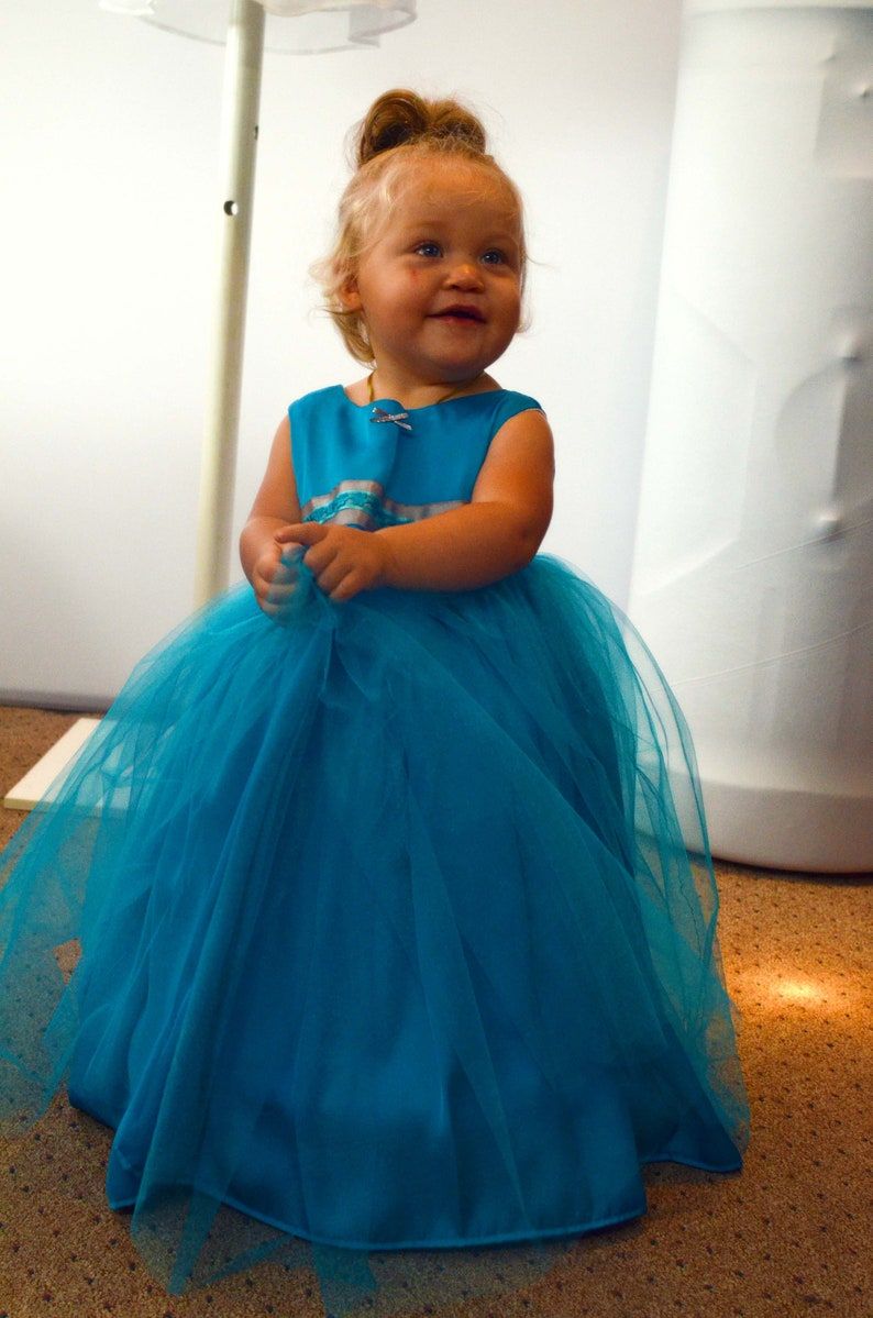 Turquoise Baby Ball Gown with hoop skirt included