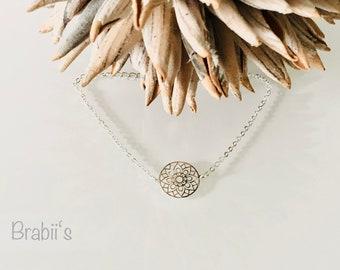 Kette Halskette MANDALA Coins *Silber* 999 feinversilbert verstellbar Edelstahl Geschenk