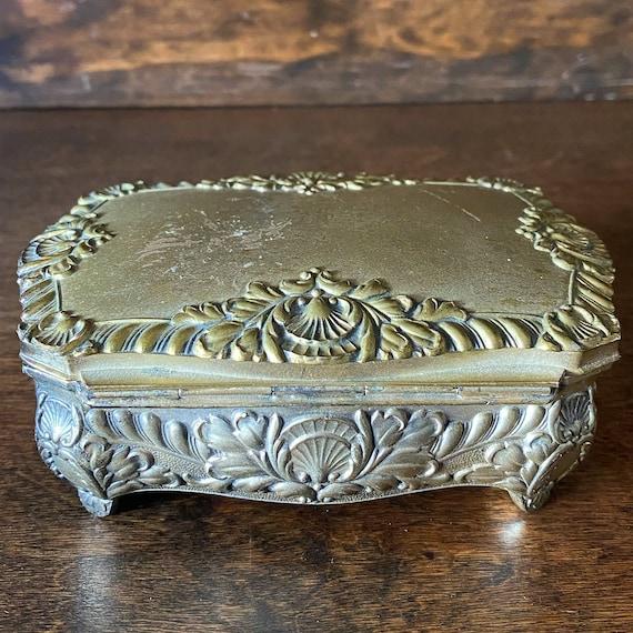 Victorian Jewelry Coffin Small Box Trinket Box Art Nouveau Engraved Eunice 1910