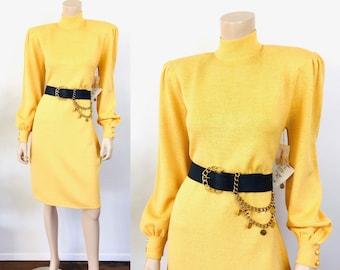 Vintage 1980s ST JOHN KNITS Yellow Puff Sleeve Knitwear Dress