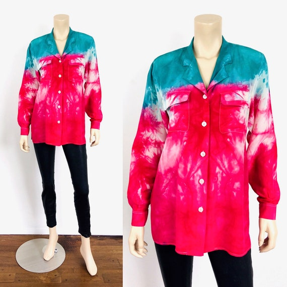 Vintage 1980s TIE DYE Effect SILK Oversized Pajama