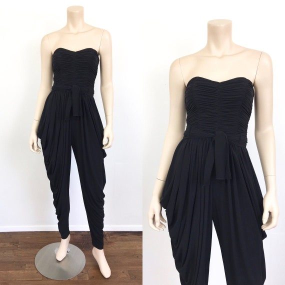 Vintage 1980s STRAPLESS Draped HAREM PANTS Black D