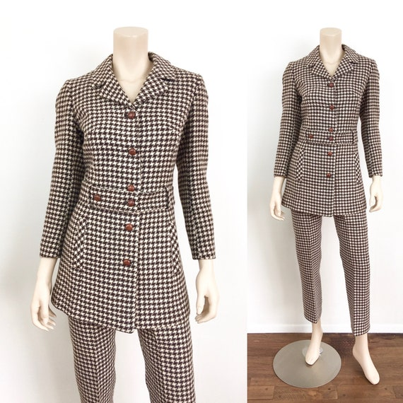 Vintage 1960s BROWN & WHITE HOUNDSTOOTH Mod Style