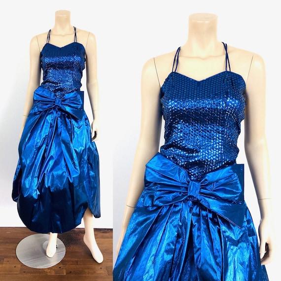 Vintage 1980s METALLIC BLUE SEQUIN Pouffy Party Pr