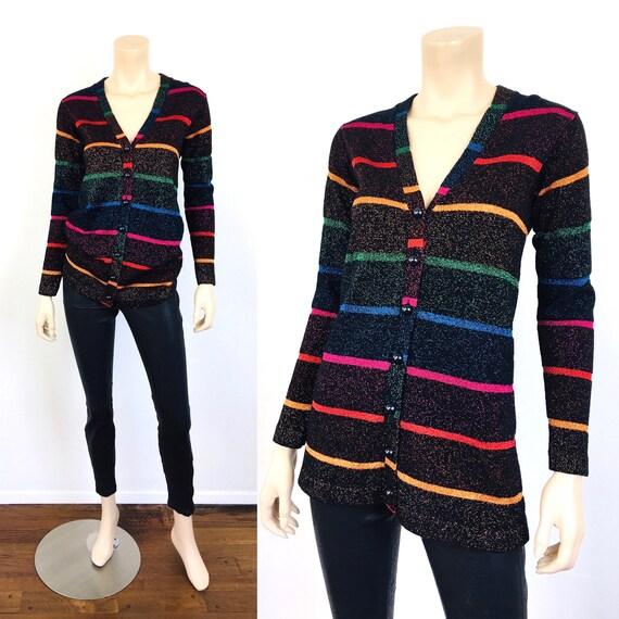 Vintage 1980s RAINBOW METALLIC Stripe Cardigan Swe