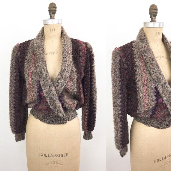 Vintage NUBBY CHEVRON Weave V Neck Sweater Top