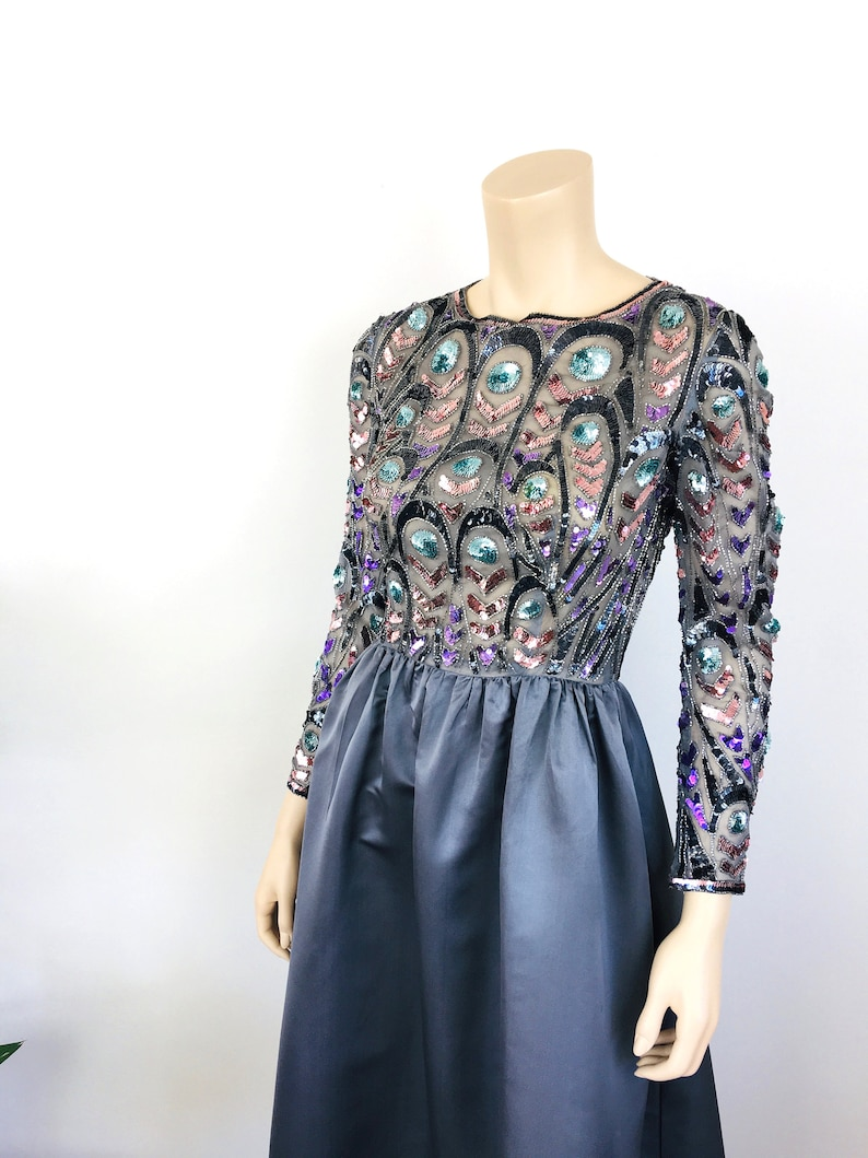 Vintage 1980s BEADED TOP Gun Metal Silver Party Dress