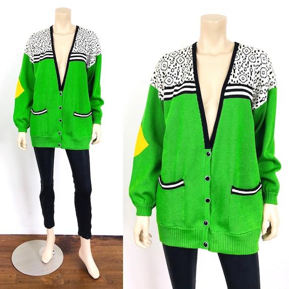 Vintage 1980s / 1990s LIME GREEN OVERSIZED V Neck