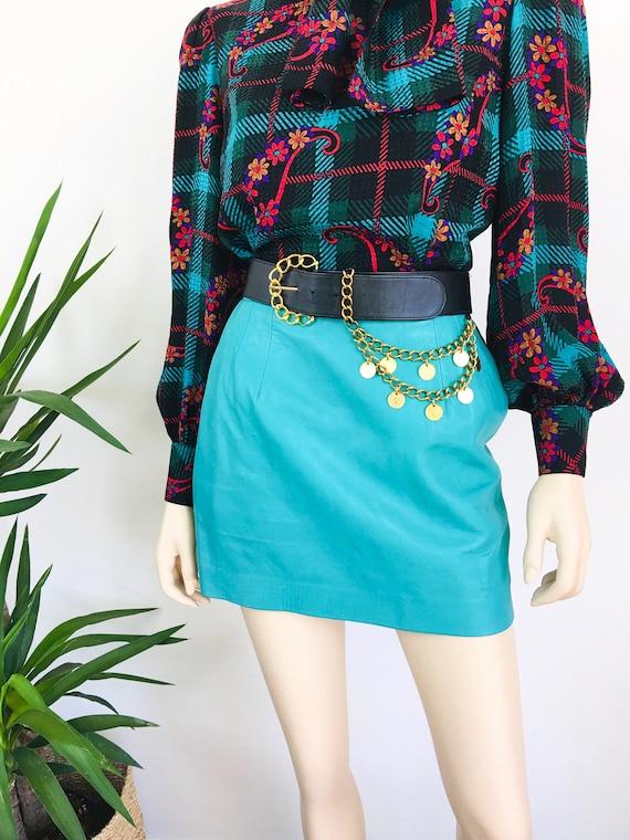Vintage 1980s MINT GREEN Micro Mini LEATHER Skirt - image 4