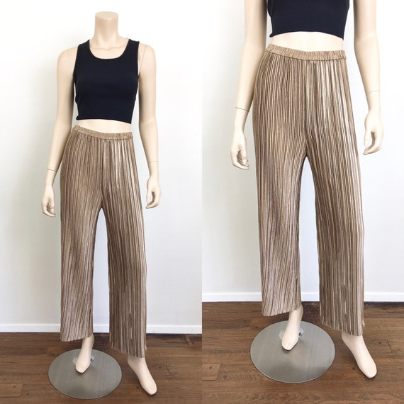 Vintage 1980s JEANNE MARC Gold PLEATS Wide Leg Pan