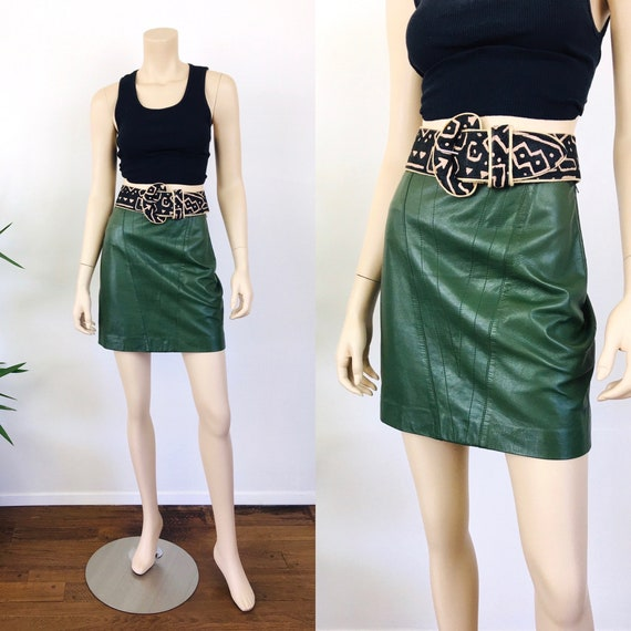 Vintage 1980s GREEN LEATHER Micro Mini Skirt