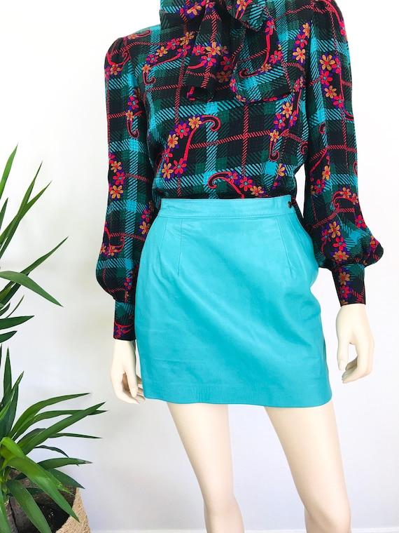 Vintage 1980s MINT GREEN Micro Mini LEATHER Skirt - image 5