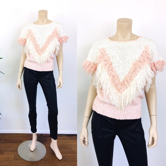 Vintage 1980s BLUSH PINK Chevron FRINGE Sweater To
