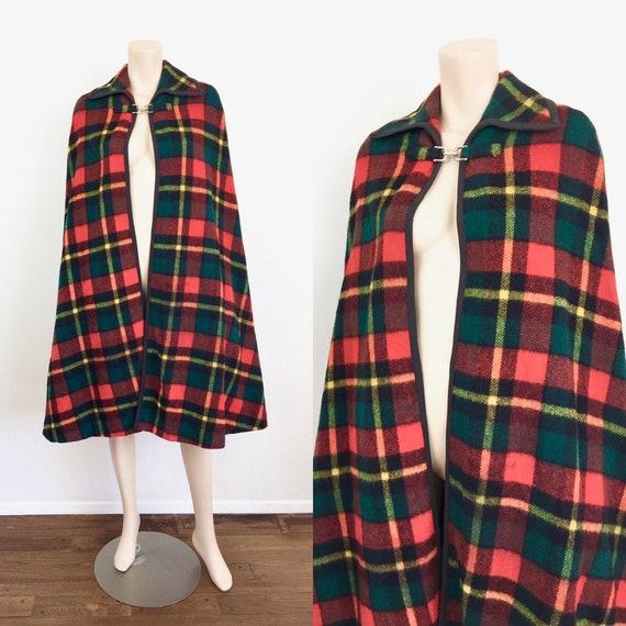 Vintage 1960s PLAID CAPE CLOAK Jacket Poncho