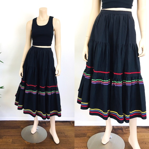 Vintage 50s Style COLORFUL RIC RAC Trim Full Circl