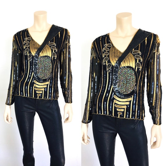 Vintage 1980s ART DECO Style SEQUIN Beaded Gold Me