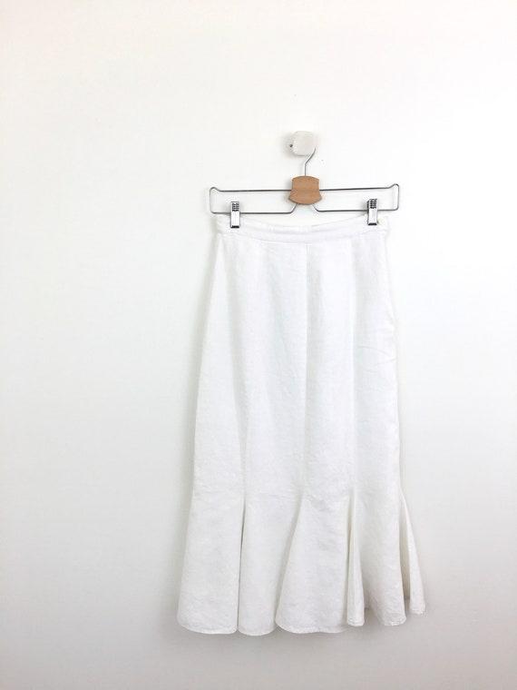 Vintage 1990s White LINEN MERMAID RUFFLE Minimal S