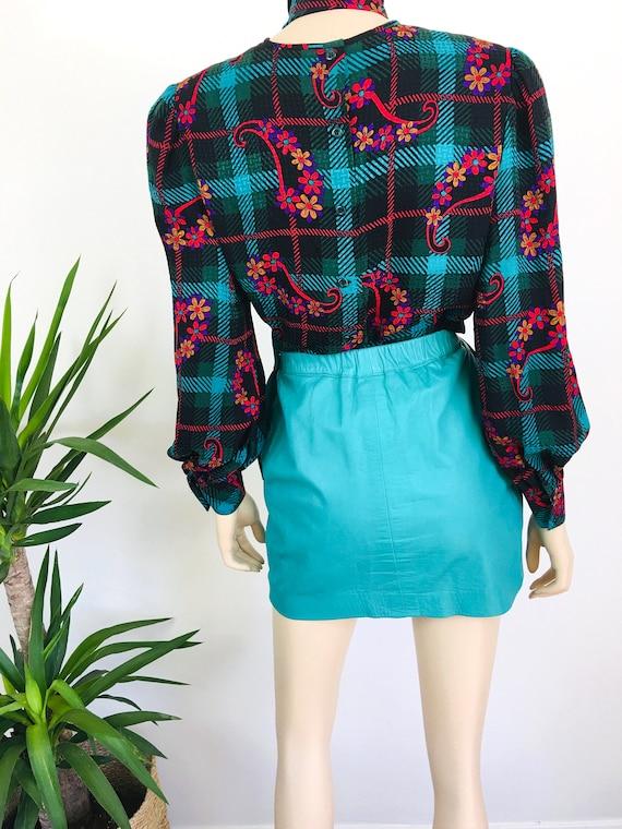 Vintage 1980s MINT GREEN Micro Mini LEATHER Skirt - image 7